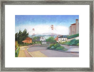 Seacliff Vision With Golden Gate Bridge In Fog Framed Print