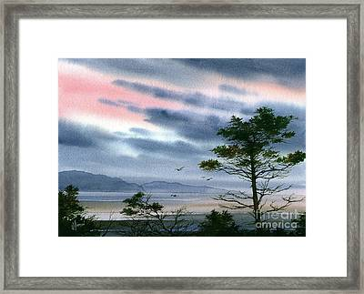 Seacoast Winter Sunset Framed Print by James Williamson