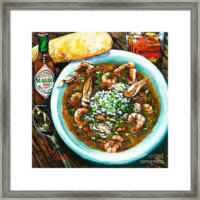 Seafood Gumbo Framed Print by Dianne Parks
