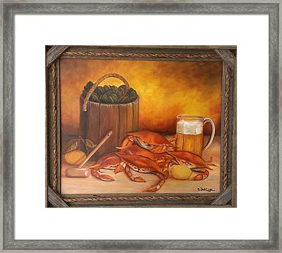 Framed Print featuring the painting Seafood Night by Susan Dehlinger