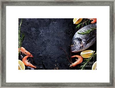 Seafood On Black Background Framed Print by Jelena Jovanovic