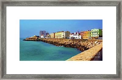 Seafront Promenade In Cadiz Framed Print