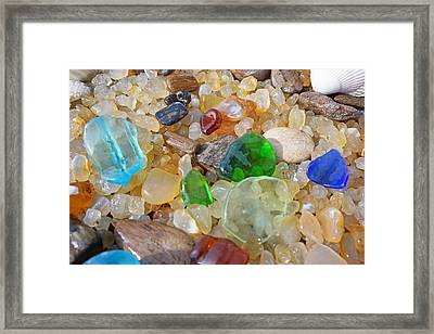 Seaglass Art Prints Sea Glass Agates Framed Print