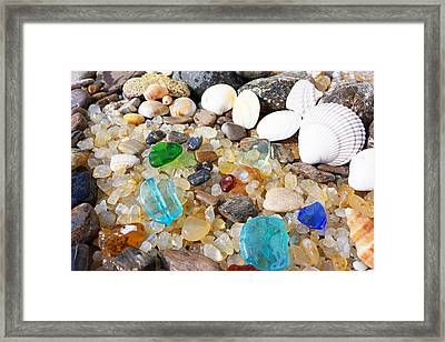 Seaglass Art Prints Sea Glass Shells Agates Framed Print