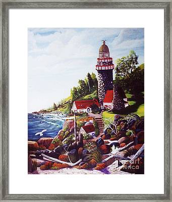 Framed Print featuring the painting Seagull Cove And Lighthouse by Myrna Walsh
