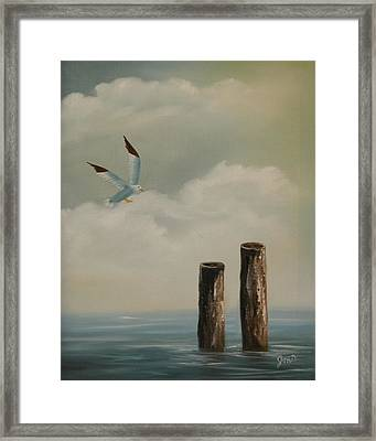 Framed Print featuring the painting Seagull Landing by Joni McPherson