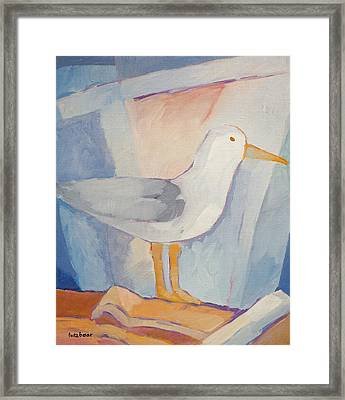 Seagull On The Roof Framed Print by Lutz Baar