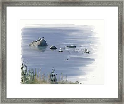 Framed Print featuring the painting Gull Siesta by Ivana Westin