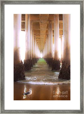 Framed Print featuring the photograph Seagull Under The Pier by Jerry Cowart