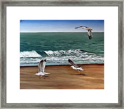 Framed Print featuring the painting Seagulls 2 by Natalia Tejera
