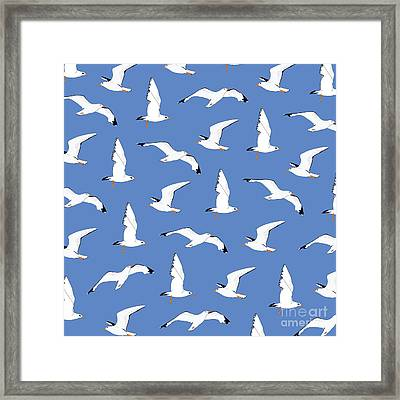 Seagulls Gathering At The Cricket Framed Print by Elizabeth Tuck