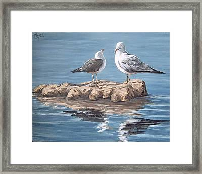 Framed Print featuring the painting Seagulls In The Sea by Natalia Tejera