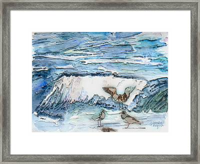 Seagulls In The Surf Framed Print