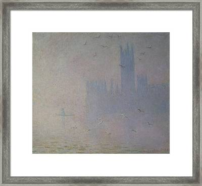 Seagulls Over The Houses Of Parliament Framed Print by Claude Monet