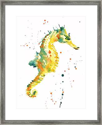 Seahorse  - Yellow Seahorse Framed Print by Alison Fennell