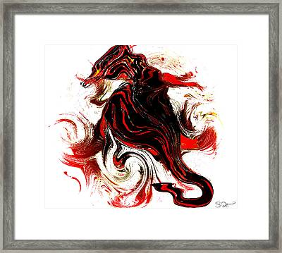 Seahorse In Red Coral. Framed Print