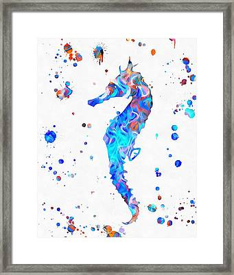 Seahorse Paint Splatter Framed Print by Dan Sproul