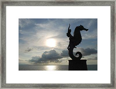 Seahorse Silhouette Framed Print