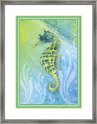 Seahorse Blue Green Framed Print by Amy Kirkpatrick