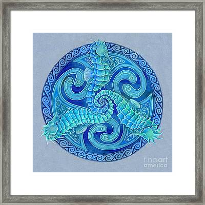 Seahorse Triskele Framed Print by Rebecca Wang
