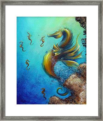 Framed Print featuring the painting Seahorse With Babies by Dina Dargo