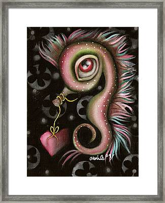 Seahorse With Heart Framed Print by  Abril Andrade Griffith