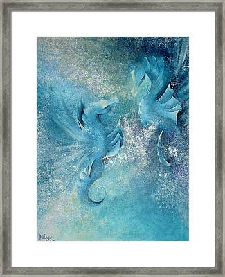Framed Print featuring the painting Seahorses In Love 1 by Dina Dargo