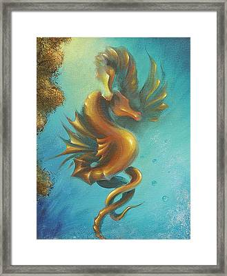 Framed Print featuring the painting Seahorses In Love II  by Dina Dargo