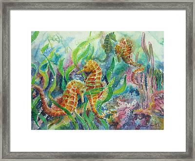 Seahorses Three Framed Print by Deborah Younglao