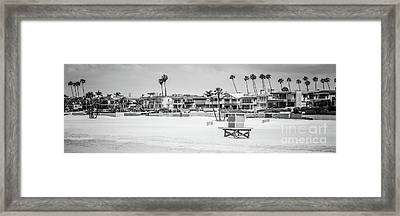 Seal Beach Black And White Panorama Picture Framed Print by Paul Velgos
