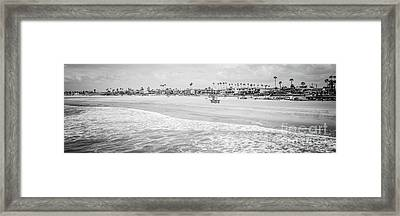 Seal Beach Panorama Black And White Photo Framed Print