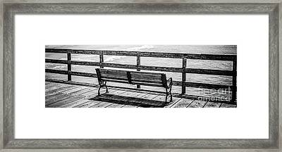 Seal Beach Pier Bench Black And White Photo Framed Print by Paul Velgos