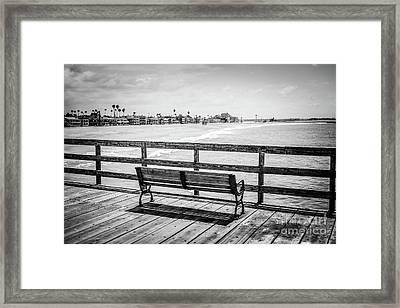 Seal Beach Pier Black And White Photo Framed Print by Paul Velgos