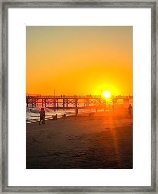 Seal Beach Pier Sunset Framed Print by Mark Barclay