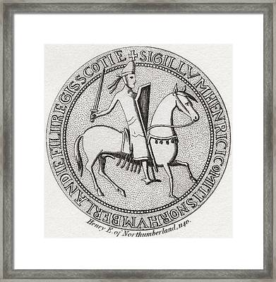 Seal Of Henry Of Scotland, 1114 Framed Print by Vintage Design Pics