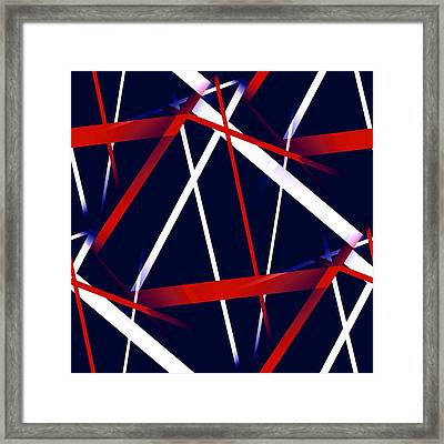 Seamless Red And White Stripes On A Blue Background Framed Print