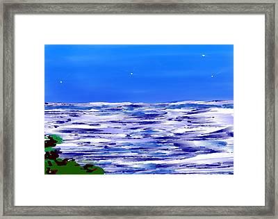 Framed Print featuring the digital art Sea.moon Light by Dr Loifer Vladimir