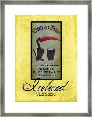 Seans Bar Guinness Pub Sign Athlone Ireland Framed Print