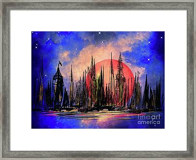 Framed Print featuring the drawing Seaport by Andrzej Szczerski