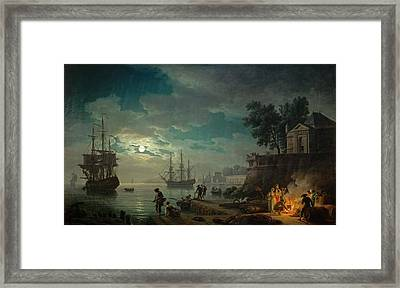 Seaport By Moonlight Framed Print