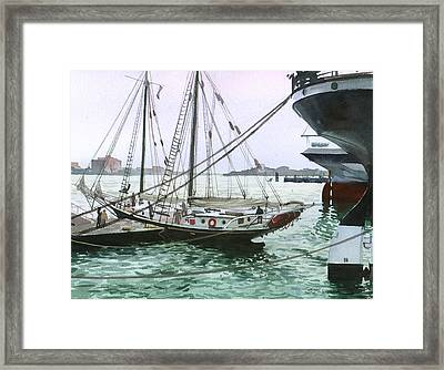 Framed Print featuring the painting Seaport New York by Sergey Zhiboedov