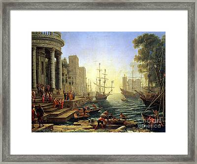 Seaport With The Embarkation Of Saint Ursula  Framed Print