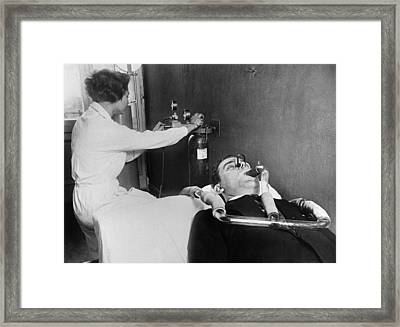 Searching For Germs Framed Print by Underwood Archives