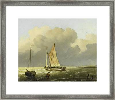 Seas Off The Coast Framed Print by Ludolf Bakhuysen