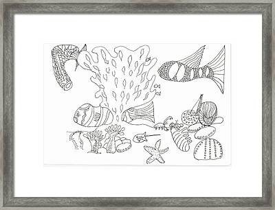 Seascape And Corals Framed Print