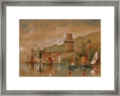 Seascape At Sicily Palermo  Porto Arenella  Tonnara Florio  Framed Print by Juan  Bosco