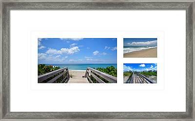 Seascape  Boardwalks Treasure Coast Florida Collage 1 Framed Print