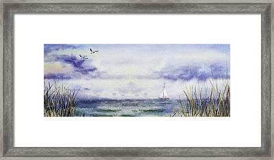 Seascape Elongated Painting With Sailboat Framed Print by Irina Sztukowski