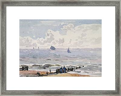 Seascape From The Beach Framed Print by Thomas Churchyard