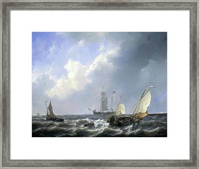 Seascape From The Zeeland Waters Framed Print by Petrus Johannes Schotel
